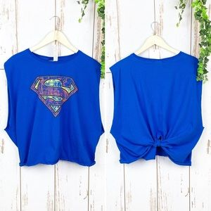 Superman Raw Cut Knotted Back Cropped Muscle Tee
